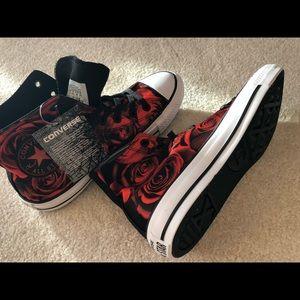 90d652fc3191 Converse Shoes - Converse Hi Top   Satin Rose   Red   Black
